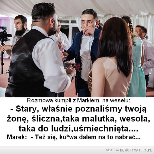Najlepszym nauczycielem życia, są wnioski... –  Rozmowa kumpli z Markiem na weselu: - Stary, właśnie poznaliśmy twoją zonę, śliczna, taka malutka, wesoła, taka do ludzi, usmiechnięta...Marek: - Też się ku*wa dałem na to nabrać...