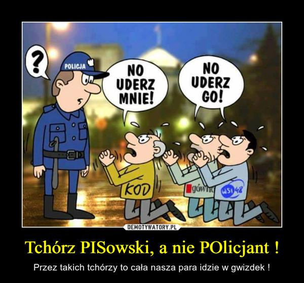 Tchórz PISowski, a nie POlicjant ! – Przez takich tchórzy to cała nasza para idzie w gwizdek !