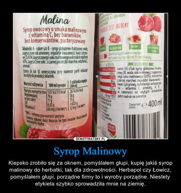 Syrop Malinowy – Kiepsko zrobiło się za oknem, pomyślałem głupi, kupię jakiś syrop malinowy do herbatki, tak dla zdrowotności. Herbapol czy Łowicz, pomyślałem głupi, porządne firmy to i wyroby porządne. Niestety etykieta szybko sprowadziła mnie na ziemię.