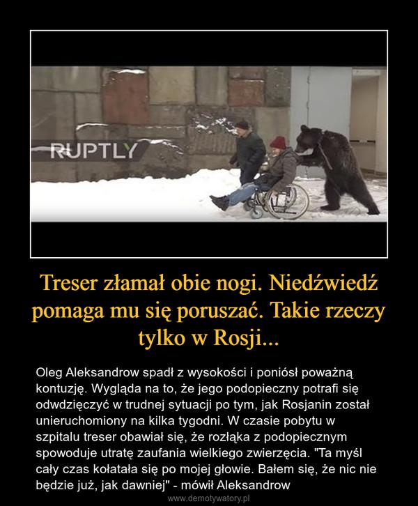 """Treser złamał obie nogi. Niedźwiedź pomaga mu się poruszać. Takie rzeczy tylko w Rosji... – Oleg Aleksandrow spadł z wysokości i poniósł poważną kontuzję. Wygląda na to, że jego podopieczny potrafi się odwdzięczyć w trudnej sytuacji po tym, jak Rosjanin został unieruchomiony na kilka tygodni. W czasie pobytu w szpitalu treser obawiał się, że rozłąka z podopiecznym spowoduje utratę zaufania wielkiego zwierzęcia. """"Ta myśl cały czas kołatała się po mojej głowie. Bałem się, że nic nie będzie już, jak dawniej"""" - mówił Aleksandrow"""