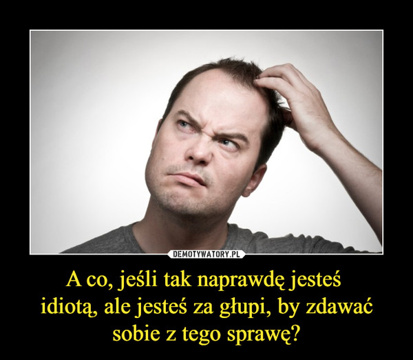 A co, jeśli tak naprawdę jesteś idiotą, ale jesteś za głupi, by zdawać sobie z tego sprawę? –