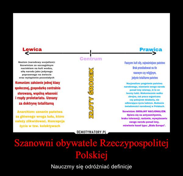Szanowni obywatele Rzeczypospolitej Polskiej – Nauczmy się odróżniać definicje
