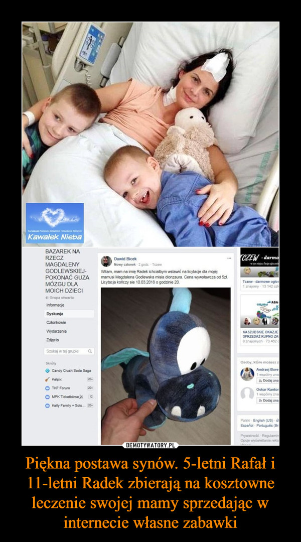 Piękna postawa synów. 5-letni Rafał i 11-letni Radek zbierają na kosztowne leczenie swojej mamy sprzedając w internecie własne zabawki –
