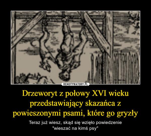 """Drzeworyt z połowy XVI wieku przedstawiający skazańca z powieszonymi psami, które go gryzły – Teraz już wiesz, skąd się wzięło powiedzenie""""wieszać na kimś psy"""""""