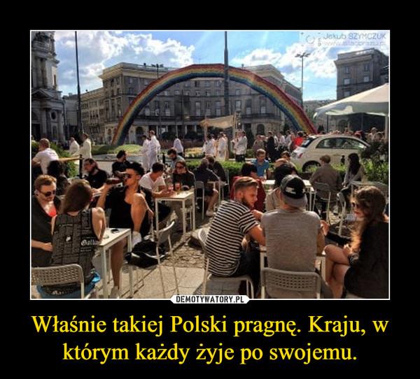 Właśnie takiej Polski pragnę. Kraju, w którym każdy żyje po swojemu. –