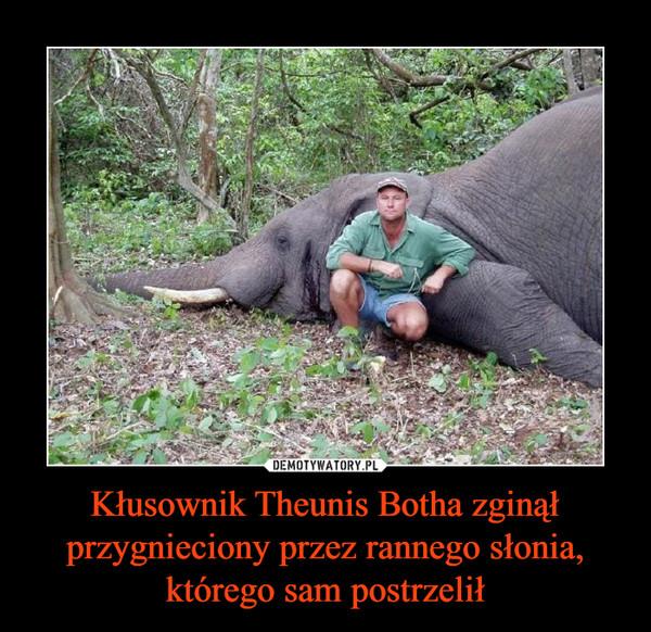 Kłusownik Theunis Botha zginął przygnieciony przez rannego słonia, którego sam postrzelił –