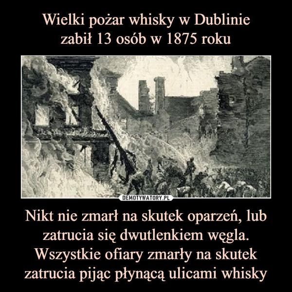 Nikt nie zmarł na skutek oparzeń, lub zatrucia się dwutlenkiem węgla. Wszystkie ofiary zmarły na skutek zatrucia pijąc płynącą ulicami whisky –