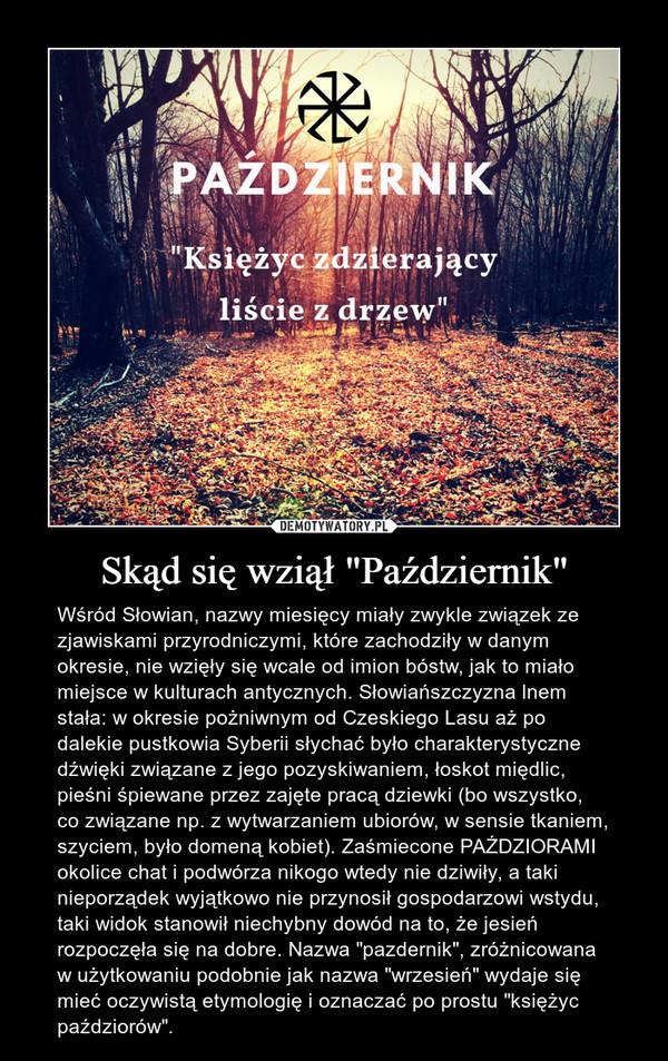 """Skąd się wziął """"Październik"""" – Wśród Słowian, nazwy miesięcy miały zwykle związek ze zjawiskami przyrodniczymi, które zachodziły w danym okresie, nie wzięły się wcale od imion bóstw, jak to miało miejsce w kulturach antycznych. Słowiańszczyzna lnem stała: w okresie pożniwnym od Czeskiego Lasu aż po dalekie pustkowia Syberii słychać było charakterystyczne dźwięki związane z jego pozyskiwaniem, łoskot międlic, pieśni śpiewane przez zajęte pracą dziewki (bo wszystko, co związane np. z wytwarzaniem ubiorów, w sensie tkaniem, szyciem, było domeną kobiet). Zaśmiecone PAŹDZIORAMI okolice chat i podwórza nikogo wtedy nie dziwiły, a taki nieporządek wyjątkowo nie przynosił gospodarzowi wstydu, taki widok stanowił niechybny dowód na to, że jesień rozpoczęła się na dobre. Nazwa """"pazdernik"""", zróżnicowana w użytkowaniu podobnie jak nazwa """"wrzesień"""" wydaje się mieć oczywistą etymologię i oznaczać po prostu """"księżyc paździorów""""."""