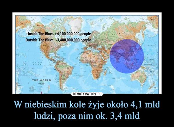 W niebieskim kole żyje około 4,1 mld ludzi, poza nim ok. 3,4 mld –