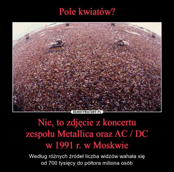 Nie, to zdjęcie z koncertuzespołu Metallica oraz AC / DCw 1991 r. w Moskwie – Według różnych źródeł liczba widzów wahała sięod 700 tysięcy do półtora miliona osób