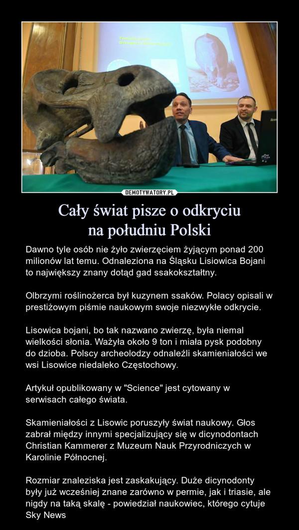 """Cały świat pisze o odkryciuna południu Polski – Dawno tyle osób nie żyło zwierzęciem żyjącym ponad 200 milionów lat temu. Odnaleziona na Śląsku Lisiowica Bojani to największy znany dotąd gad ssakokształtny. Olbrzymi roślinożerca był kuzynem ssaków. Polacy opisali w prestiżowym piśmie naukowym swoje niezwykłe odkrycie.Lisowica bojani, bo tak nazwano zwierzę, była niemal wielkości słonia. Ważyła około 9 ton i miała pysk podobny do dzioba. Polscy archeolodzy odnaleźli skamieniałości we wsi Lisowice niedaleko Częstochowy.Artykuł opublikowany w """"Science"""" jest cytowany w serwisach całego świata.Skamieniałości z Lisowic poruszyły świat naukowy. Głos zabrał między innymi specjalizujący się w dicynodontach Christian Kammerer z Muzeum Nauk Przyrodniczych w Karolinie Północnej.Rozmiar znaleziska jest zaskakujący. Duże dicynodonty były już wcześniej znane zarówno w permie, jak i triasie, ale nigdy na taką skalę - powiedział naukowiec, którego cytuje Sky News"""