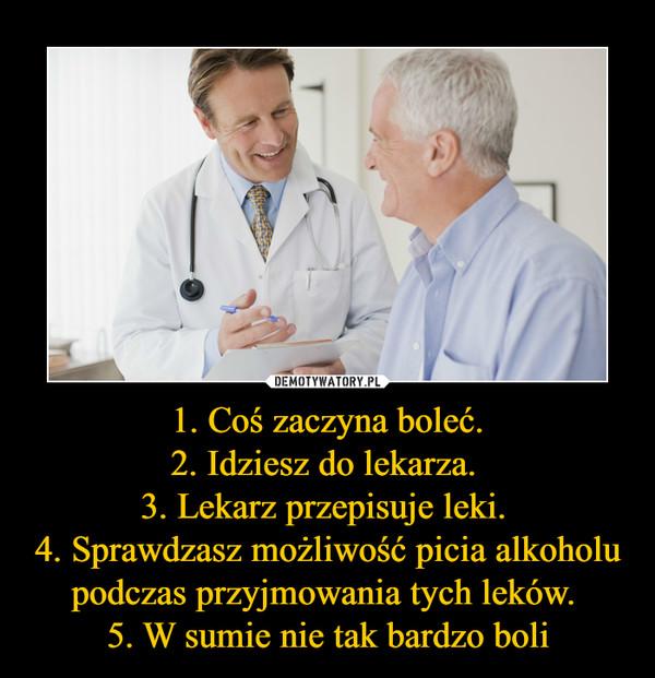 1. Coś zaczyna boleć.2. Idziesz do lekarza. 3. Lekarz przepisuje leki. 4. Sprawdzasz możliwość picia alkoholu podczas przyjmowania tych leków. 5. W sumie nie tak bardzo boli –