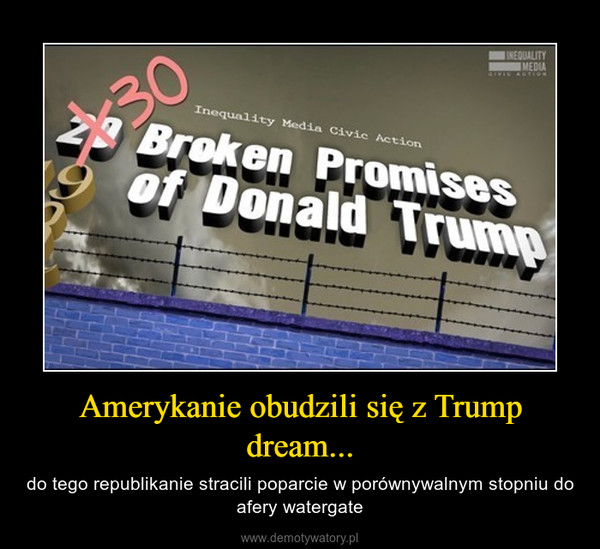 Amerykanie obudzili się z Trump dream... – do tego republikanie stracili poparcie w porównywalnym stopniu do afery watergate