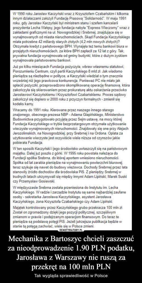 Mechanika z Bartoszyc chcieli zaszczuć za nieodprowadzenie 1.90 PLN podatku, Jarosława z Warszawy nie ruszą za przekręt na 100 mln PLN