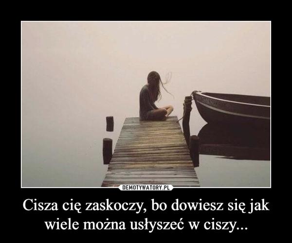 Cisza cię zaskoczy, bo dowiesz się jak wiele można usłyszeć w ciszy... –
