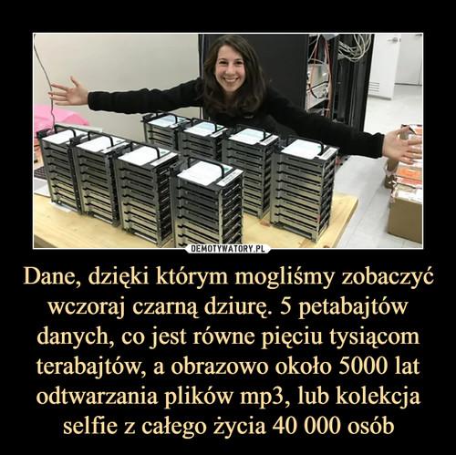 Dane, dzięki którym mogliśmy zobaczyć wczoraj czarną dziurę. 5 petabajtów danych, co jest równe pięciu tysiącom terabajtów, a obrazowo około 5000 lat odtwarzania plików mp3, lub kolekcja selfie z całego życia 40 000 osób
