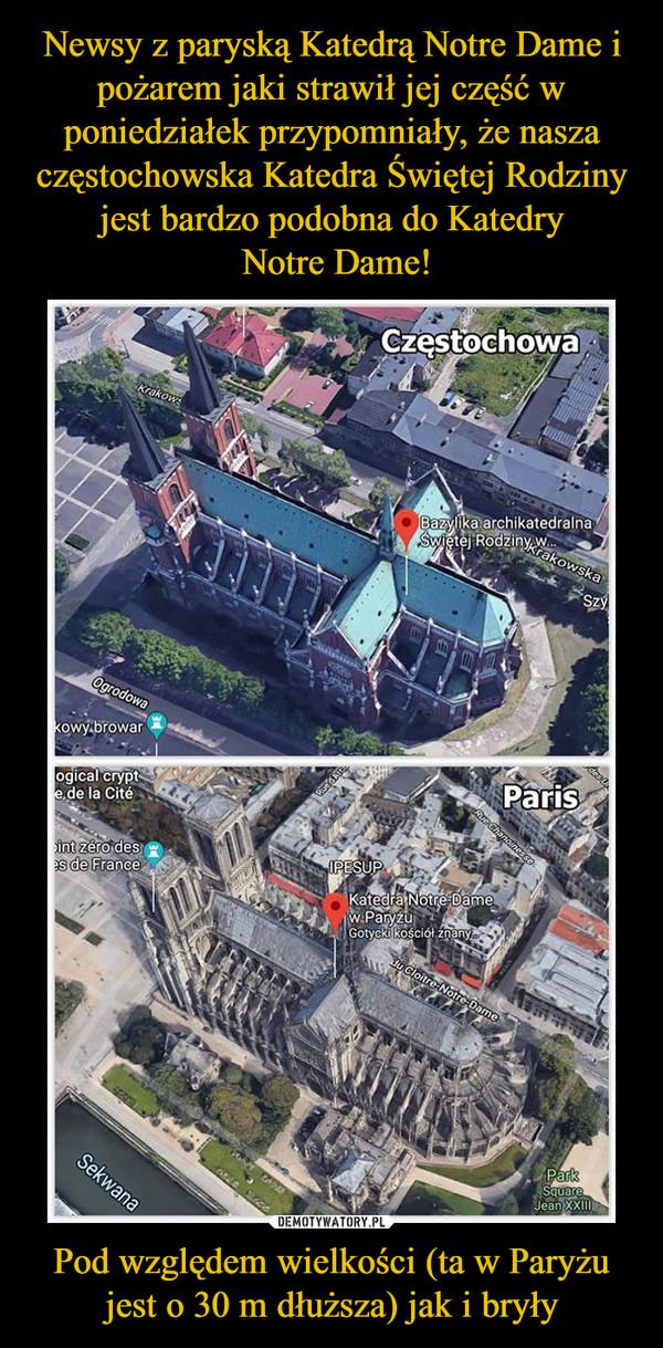 Pod względem wielkości (ta w Paryżu jest o 30 m dłuższa) jak i bryły –