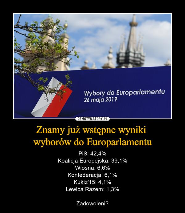 Znamy już wstępne wyniki wyborów do Europarlamentu – PiS: 42,4%Koalicja Europejska: 39,1%Wiosna: 6,6%Konfederacja: 6,1%Kukiz'15: 4,1%Lewica Razem: 1,3%Zadowoleni?