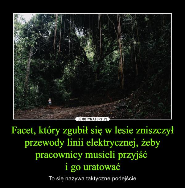 Facet, który zgubił się w lesie zniszczył przewody linii elektrycznej, żeby pracownicy musieli przyjść i go uratować – To się nazywa taktyczne podejście