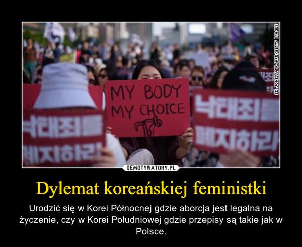 Dylemat koreańskiej feministki – Urodzić się w Korei Północnej gdzie aborcja jest legalna na życzenie, czy w Korei Południowej gdzie przepisy są takie jak w Polsce.