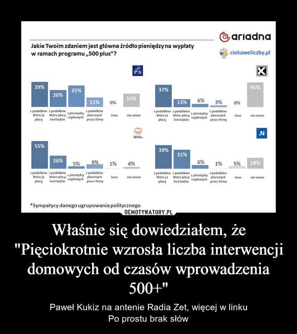 """Właśnie się dowiedziałem, że """"Pięciokrotnie wzrosła liczba interwencji domowych od czasów wprowadzenia 500+"""" – Paweł Kukiz na antenie Radia Zet, więcej w linkuPo prostu brak słów"""