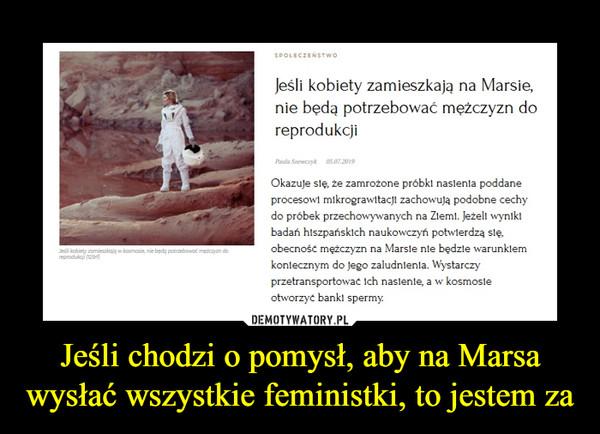 Jeśli chodzi o pomysł, aby na Marsa wysłać wszystkie feministki, to jestem za –  Jeśli kobiety zamieszkają na Marsie, nie będą potrzebować mężczyzn do reprodukcji Okazuje się, że zamrożone próbki nasienia poddane procesowi mikrograwitacji zachowują podobne cechy do próbek przechowywanych na Ziemi. Jeżeli wyniki badań hiszpańskich naukoznawczyni potwierdzą się, obecność mężczyzn na Marsie nie będzie warunkiem koniecznym do jego zaludnienia. Wystarczy przetransportować ich nasienie, a w kosmosie otworzyć banki spermy.
