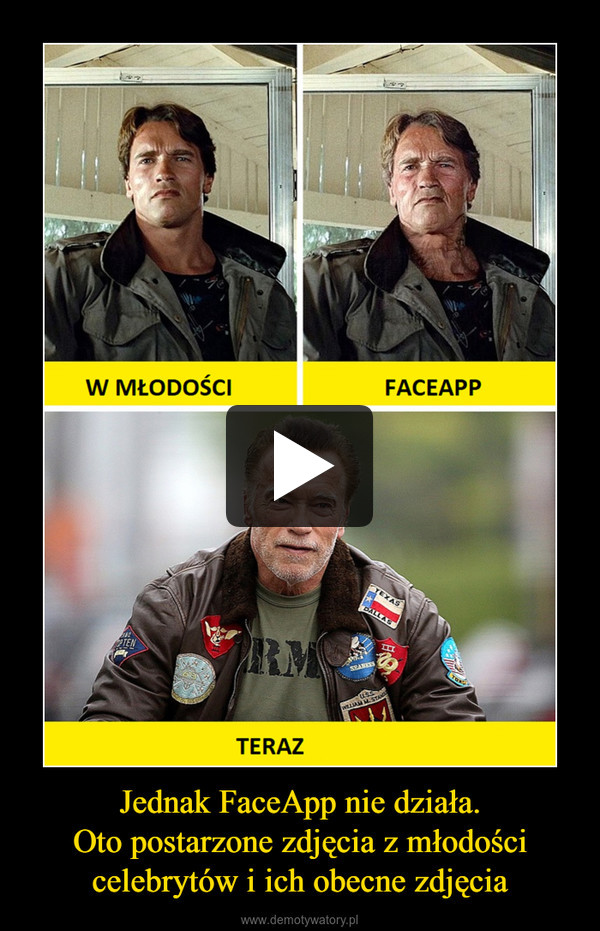 Jednak FaceApp nie działa.Oto postarzone zdjęcia z młodości celebrytów i ich obecne zdjęcia –