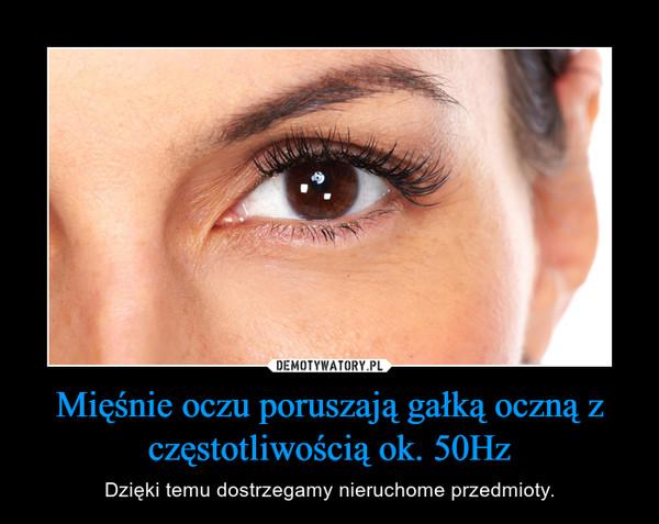 Mięśnie oczu poruszają gałką oczną z częstotliwością ok. 50Hz – Dzięki temu dostrzegamy nieruchome przedmioty.