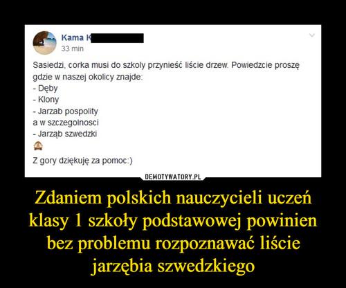 Zdaniem polskich nauczycieli uczeń klasy 1 szkoły podstawowej powinien bez problemu rozpoznawać liście jarzębia szwedzkiego