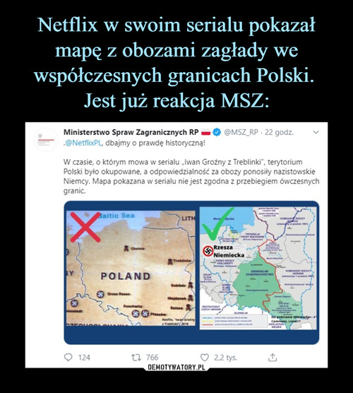 Netflix w swoim serialu pokazał mapę z obozami zagłady we współczesnych granicach Polski.  Jest już reakcja MSZ: