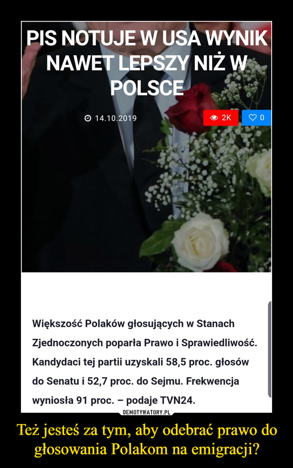 Też jesteś za tym, aby odebrać prawo do głosowania Polakom na emigracji? –
