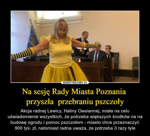 Na sesję Rady Miasta Poznania  przyszła  przebraniu pszczoły