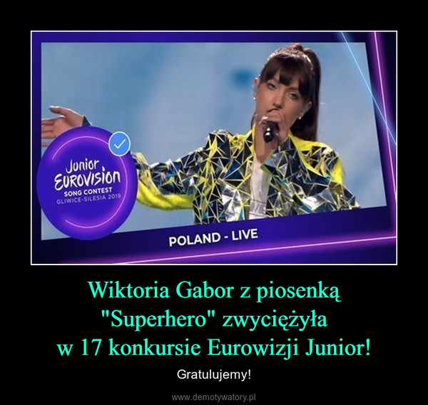 """Wiktoria Gabor z piosenką""""Superhero"""" zwyciężyław 17 konkursie Eurowizji Junior! – Gratulujemy!"""