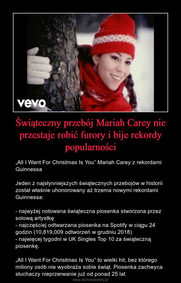 """Świąteczny przebój Mariah Carey nie przestaje robić furory i bije rekordy popularności – """"All I Want For Christmas Is You"""" Mariah Carey z rekordami GuinnessaJeden z najsłynniejszych świątecznych przebojów w historii został właśnie uhonorowany ażtrzema nowymi rekordami Guinnessa:- najwyżej notowana świąteczna piosenka stworzona przez solową artystkę- najczęściej odtwarzana piosenka na Spotify w ciągu 24 godzin (10,819,009 odtworzeń w grudniu 2018)- najwięcej tygodni w UK Singles Top 10 za świąteczną piosenkę.""""All I Want For Christmas Is You"""" to wielki hit, bez którego miliony osób nie wyobraża sobie świąt. Piosenka zachwyca słuchaczy nieprzerwanie już od ponad 25 lat"""