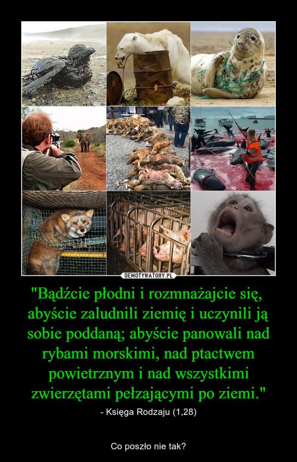 """""""Bądźcie płodni i rozmnażajcie się,  abyście zaludnili ziemię i uczynili ją sobie poddaną; abyście panowali nad rybami morskimi, nad ptactwem powietrznym i nad wszystkimi zwierzętami pełzającymi po ziemi."""" – - Księga Rodzaju (1,28)Co poszło nie tak?"""