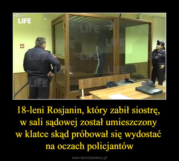 18-leni Rosjanin, który zabił siostrę, w sali sądowej został umieszczony w klatce skąd próbował się wydostać na oczach policjantów –