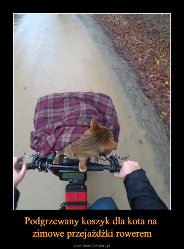 Podgrzewany koszyk dla kota na zimowe przejażdżki rowerem –