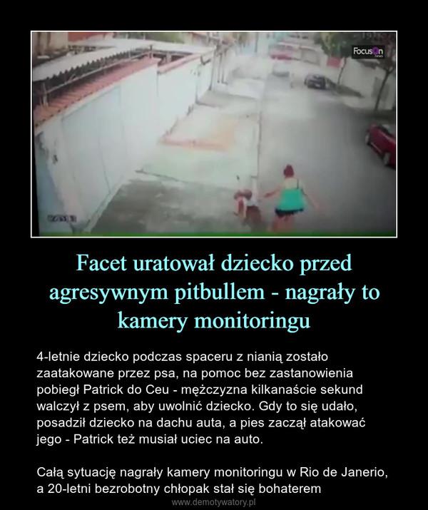 Facet uratował dziecko przed agresywnym pitbullem - nagrały to kamery monitoringu – 4-letnie dziecko podczas spaceru z nianią zostało zaatakowane przez psa, na pomoc bez zastanowienia pobiegł Patrick do Ceu - mężczyzna kilkanaście sekund walczył z psem, aby uwolnić dziecko. Gdy to się udało, posadził dziecko na dachu auta, a pies zaczął atakować jego - Patrick też musiał uciec na auto.Całą sytuację nagrały kamery monitoringu w Rio de Janerio, a 20-letni bezrobotny chłopak stał się bohaterem