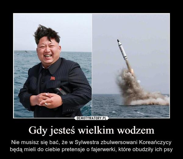 Gdy jesteś wielkim wodzem – Nie musisz się bać, że w Sylwestra zbulwersowani Koreańczycy będą mieli do ciebie pretensje o fajerwerki, które obudziły ich psy
