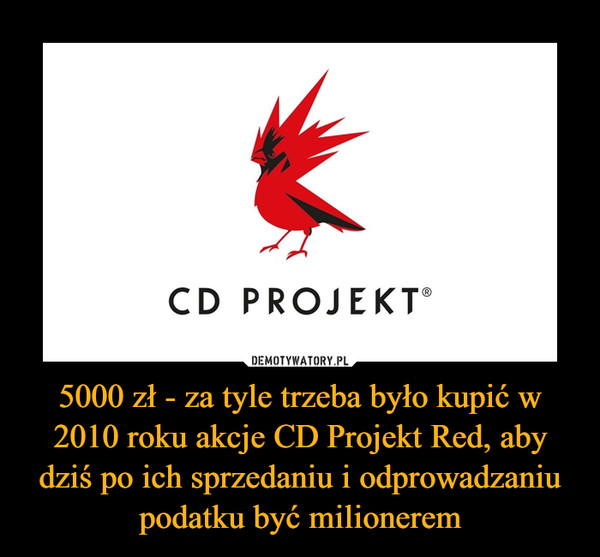 5000 zł - za tyle trzeba było kupić w 2010 roku akcje CD Projekt Red, aby dziś po ich sprzedaniu i odprowadzaniu podatku być milionerem –
