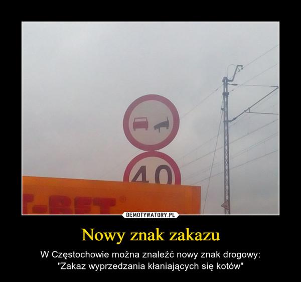 """Nowy znak zakazu – W Częstochowie można znaleźć nowy znak drogowy:""""Zakaz wyprzedzania kłaniających się kotów"""""""