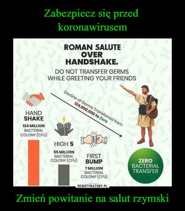 Zmień powitanie na salut rzymski –  Roman salut over handshake Do not transfer germs while greeting your friends Zero bacterial transfer