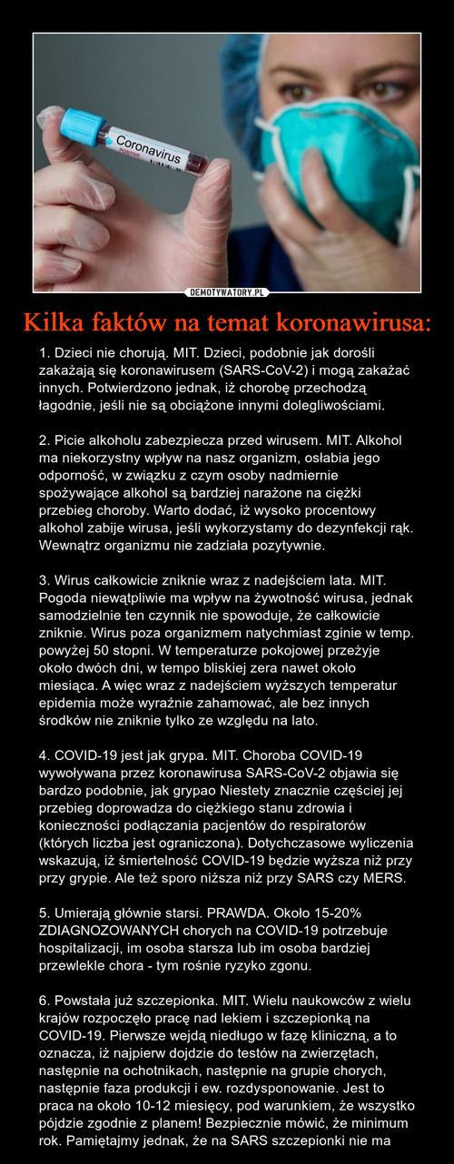 Kilka faktów na temat koronawirusa: