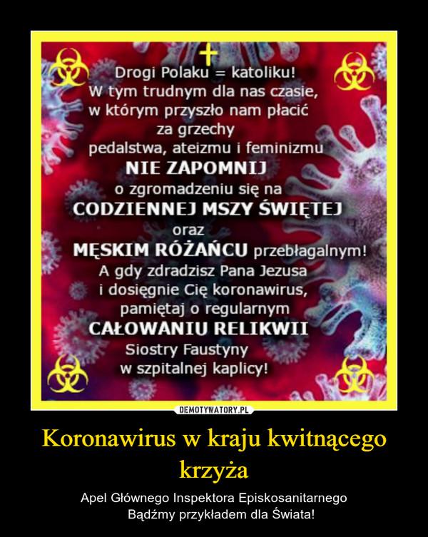 Koronawirus w kraju kwitnącego krzyża – Apel Głównego Inspektora Episkosanitarnego    Bądźmy przykładem dla Świata!