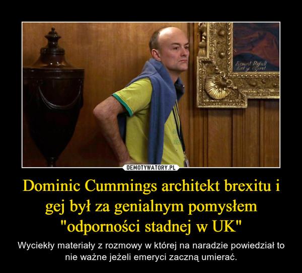 """Dominic Cummings architekt brexitu i gej był za genialnym pomysłem """"odporności stadnej w UK"""" – Wyciekły materiały z rozmowy w której na naradzie powiedział to nie ważne jeżeli emeryci zaczną umierać."""