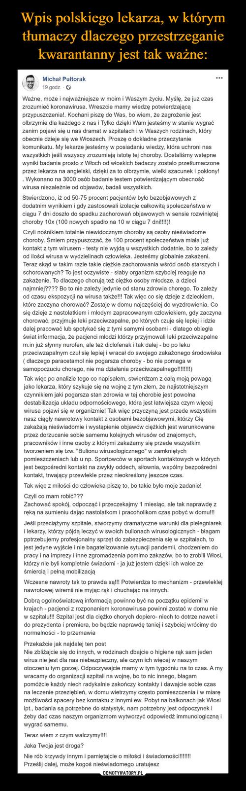 Wpis polskiego lekarza, w którym tłumaczy dlaczego przestrzeganie kwarantanny jest tak ważne: