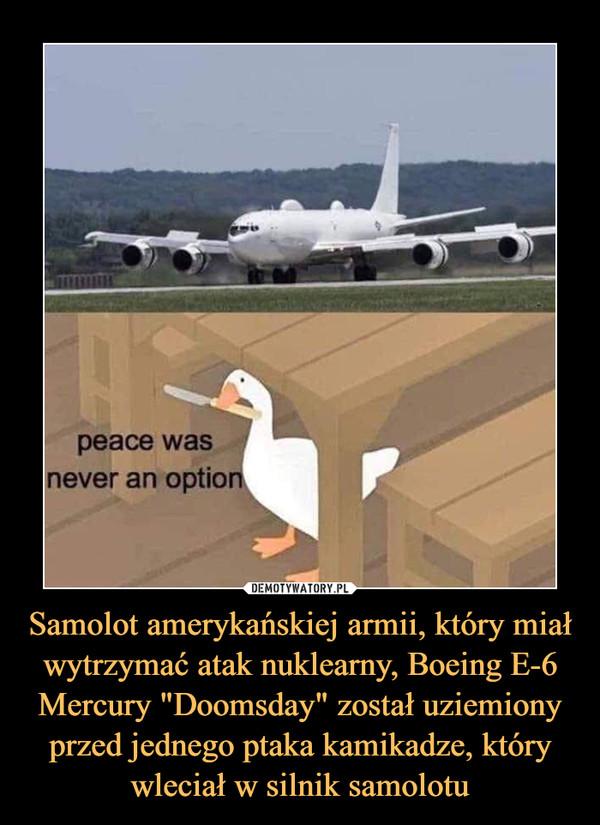 """Samolot amerykańskiej armii, który miał wytrzymać atak nuklearny, Boeing E-6 Mercury """"Doomsday"""" został uziemiony przed jednego ptaka kamikadze, który wleciał w silnik samolotu –  peace was never an option"""