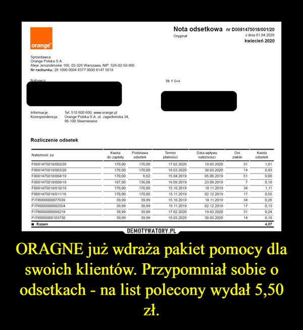 ORAGNE już wdraża pakiet pomocy dla swoich klientów. Przypomniał sobie o odsetkach - na list polecony wydał 5,50 zł. –