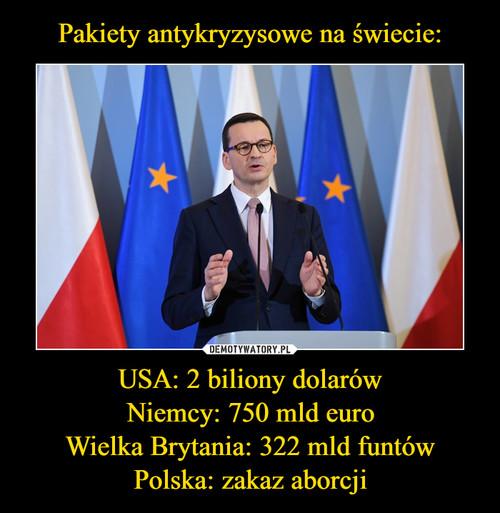 Pakiety antykryzysowe na świecie: USA: 2 biliony dolarów Niemcy: 750 mld euro Wielka Brytania: 322 mld funtów Polska: zakaz aborcji