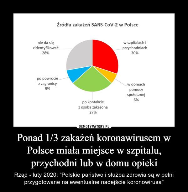 """Ponad 1/3 zakażeń koronawirusem w Polsce miała miejsce w szpitalu, przychodni lub w domu opieki – Rząd - luty 2020: """"Polskie państwo i służba zdrowia są w pełni przygotowane na ewentualne nadejście koronowirusa"""""""